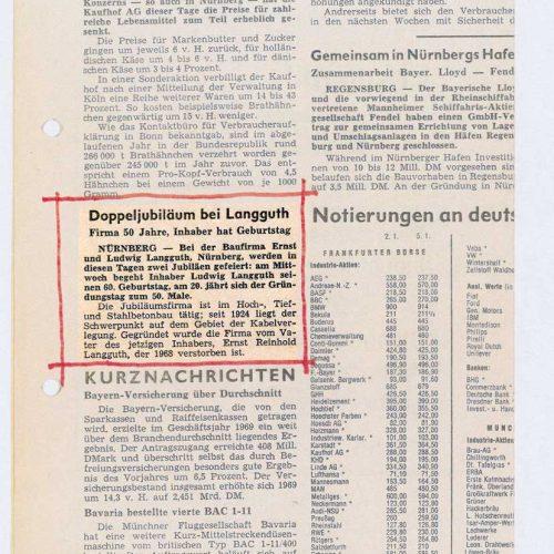 Zeitungsmitteilung zum Jubiläum 50 Jahre Baufirma Ernst und Ludwig Langguth