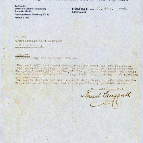 Meldung Gewerbebetrieb 1945