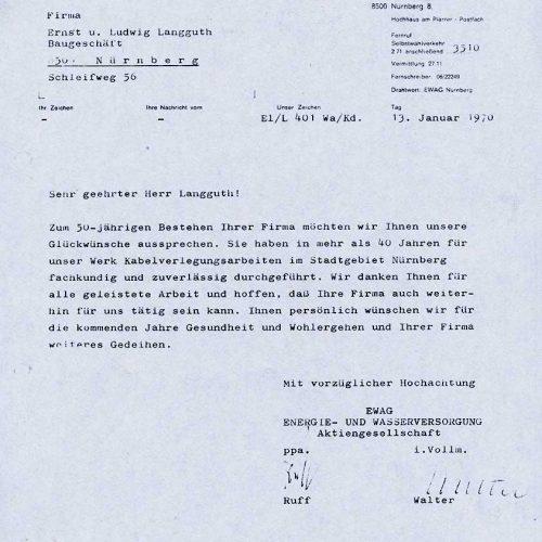 Glückwünsche der EWAG 1970