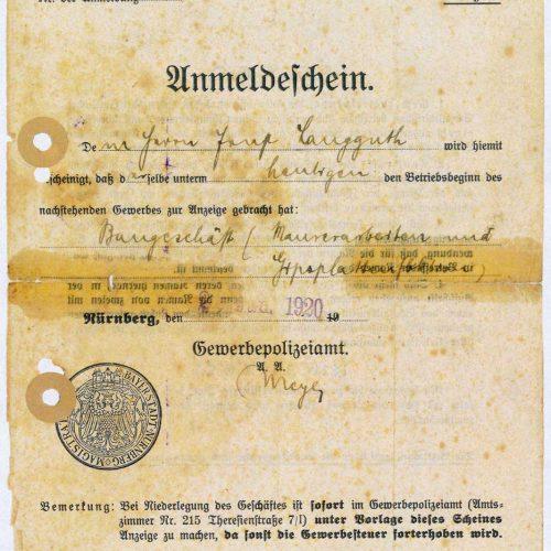 Anmeldeschein 1920