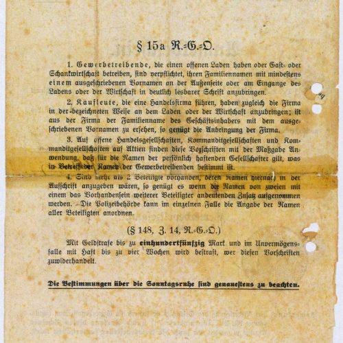 Anmeldeschein 1920 Rückseite