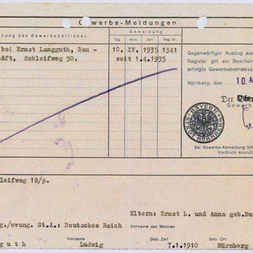 Gewerbemeldung 1935