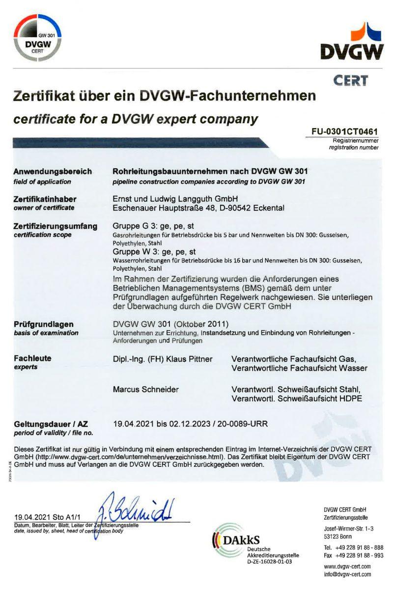DVGW-Fachunternehmen – Die DVGW Cert GmbH bestätigt der Ernst und Ludwig Langguth GmbH im Rahmen der Zertifizierung, dass die Anforderungen eines Betrieblichen Managementsystems (BMS) nachgewiesen wurden.